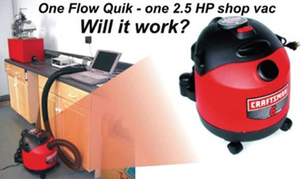 Fig. 3.9. Can a low-power shop vac be used as a pressure/vacuum source for a flow bench intended to flow typical small-block V-8 heads? You might guess this Sears 2½-hp, 6-gallon unit cleans but cannot flow a head; but with a floating pressure drop, this unit got the job done in spite of its marginal power.
