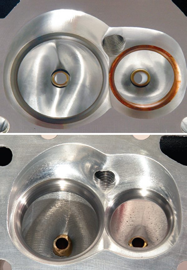 Fig. 8.13. Producers of all-out race-car two-valve heads (left) go through a lot of pain to optimize the flow delivered by the valve seat form. As it happens this is an easy route to better airflow from cost-conscious CNC street heads such as this small-block Chevy head from AFR (right).