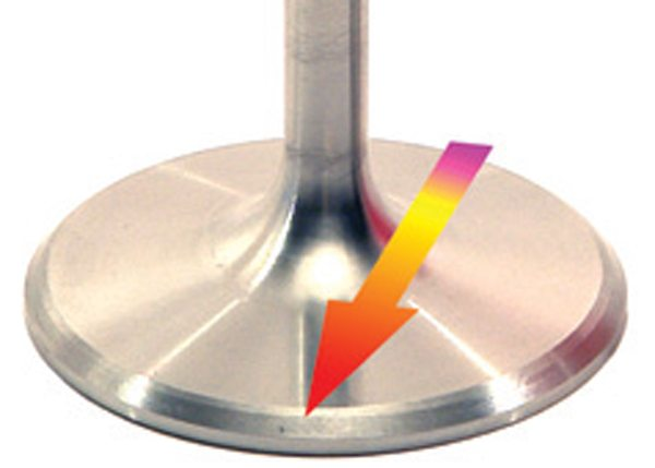 Fig. 8.14. When a standard 45-degree seat is used, back cutting the intake valve with a 30-degree angle helps form a venturi-like shape between the head and valve seat at low lift. Though usually only a minor aid to high-lift flow, it usually aids low-lift flow  measurably.