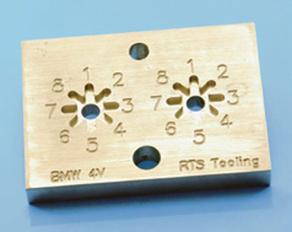 Fig. 6.22. For multi-valve engines, the RTS Tooling fixture needs an indexing plate, such as shown here for a BMW head.