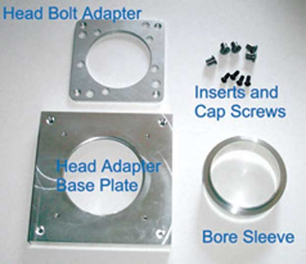 Fig. 3.20. If you are building a bench that can top 400 cfm at 28 inches,  you should seriously consider building the 6-inch EZ Flow unit. Seen here are the head adapter and bore sleeve included with the 6-inch EZ Flow kit.