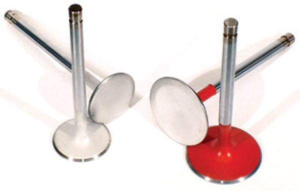 Fig. 11.22. If you have to pick one single element of the induction/exhaust of the head, coat the valves. Here, you see the Calico Coatings treatment to the intake and exhaust valves of one of my 5.0 Mustang racers. The biggest power influence is the face of the intake valve because it cuts heat going into the intake charge.