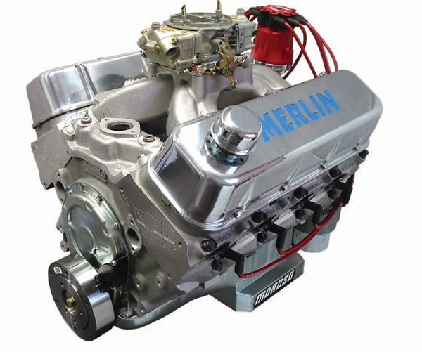 The 572-ci Merlin big-block uses a unique combination of bore and stroke to achieve its massive displacement. In this case we're looking at a square engine with a 4.500-inch bore, a 4.500-inch stroke and 735 hp. Another version adds 1/4 inch more stroke to achieve 632 ci and 800 hp on pump gas. (Courtesy World Products)