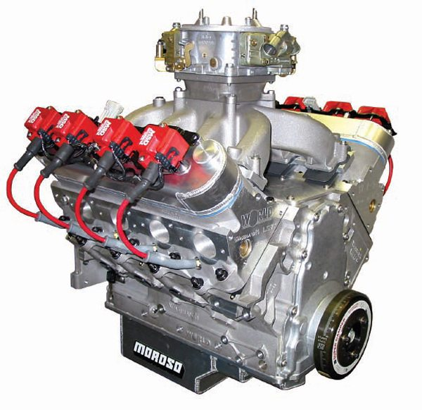 This all-aluminum LS7-based Warhawk small-block takes maximum advantage of the Gen III engine's 0.780-inch taller deck height of 9.800 inches to stuff a 4.5-inch stroke into the 4.125-inch bore block to achieve 481ci within the late-model small-block architecture. (Courtesy World Products)