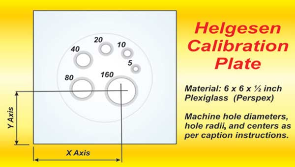Fig. 3.6. These holes need to be machined to a very smooth surface. Make tolerances as accurate as possible (+/0.001 is acceptable). The hole sizes and X-Y coordinates are: •  Hole 5: 0.210 Dia. on 4.30/3.40 inches  •  Hole 10: 0.296 Dia. on 3.95/4.10 inches  •  Hole 20: 0.419 Dia. on 3.05/4.30 inches  •  Hole 40: 0.594 Dia. on 2.10/3.80 inches  •  Hole 80: 0.840 Dia. on 2.05/2.5 inches  •  Hole 160: 1.185 Dia. on 3.70/2.40 inches  Radius entry for all holes is 0.25 inch. This is machined so that the edge of the radius goes out to 80 degrees, not the full 90. The back of the 5 and 10 size holes must be chamfered with a 90-degree cutter. The 5-hole chamfer should be 0.460-inch diameter and 0.546 for the 10 hole.