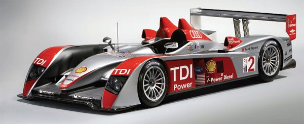 The Audi R10 TDI has set new performance standards and was the only diesel to compete against the gasoline competition in 2006 at famed endurance races, such as Le Mans and Sebring, and it dominated the field. In the 2007 season, it had competition against another V-10 turbo diesel from Peugeot, but Audi still captured the win at Le Mans. Both V-10 competitors use twin Garrett TR30R turbochargers. (Courtesy Audi)