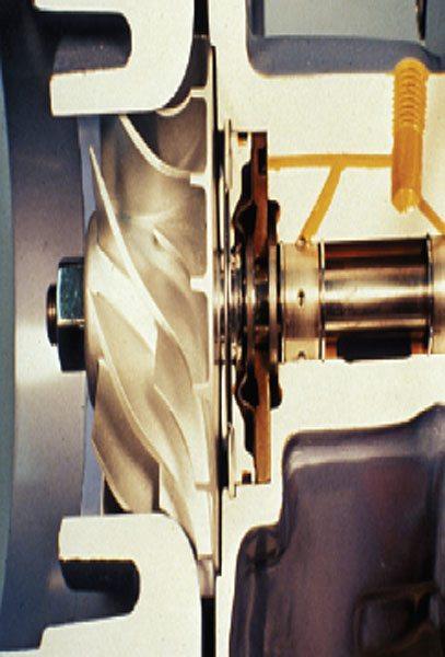 The Schwitzer model 4LHR compressor end close-up