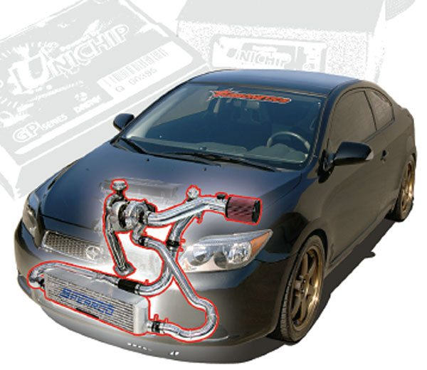 Turbonetics' complete turbo kit for the 2004 to 2006 Scion tC comes complete with an aftercooler from Spearco, a division of Turbonetics. The turbo system develops 8 lbs of boost and takes the stock 160-hp mill to 300 hp using 94-octane fuel. Note the location of the aftercooler and boost tube routing to clear engine bay obstacles. (Courtesy Turbonetics)