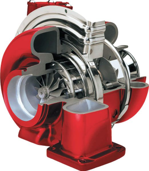 Holset brand turbos from Cummins Turbo Technologies use a unique patented slider ring to vary the amount of exhaust opening that feeds the nozzle in the turbine and is now in production on the 2008 Dodge-Cummins application. (Courtesy Gale Banks Engineering)