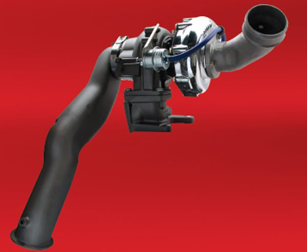 The Garrett PowerMax model designed for GM's Duramax diesel even includes a specially designed turbine inlet adapter and a high-flow downpipe that make for a smooth drop-in installation. Improving the exhaust flow (lowering the pressure after the turbine) is very important for a turbo to perform to its potential. (Courtesy Honeywell Turbo Technologies)
