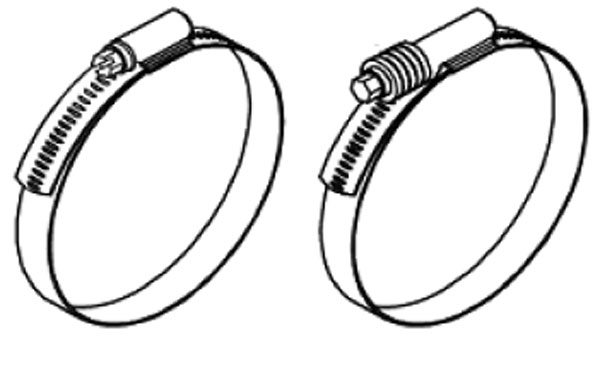 The common worm gear type clamp on the left should never be used on a turbo system. The clamp on the right is a constant torque clamp that uses either a Belleville spring washer series or is coil spring loaded to maintain proper and constant torque.