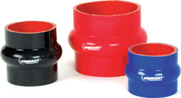 Various sizes of hump hoses for connecting of engine-mounted and chassis-mounted components. The excess material in the hump, allows for movement without causing hose fatigue. (Courtesy Vibrant Performance)