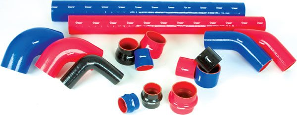 Vibrant Technologies offers a wide array of hose types and sizes. Lengths of straight silicone hoses can be cut to the length you need. Also available are various sizes of 45- and 90-degree bends, as well as adapter hose connections for stepping up or down in size. (Courtesy Vibrant Performance)
