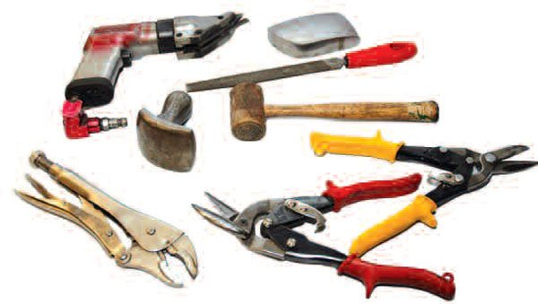 Tool steel is known for exceptional hardness, but can be correspondingly brittle. With the exception of the rawhide mallet, all these items are made from tool steel