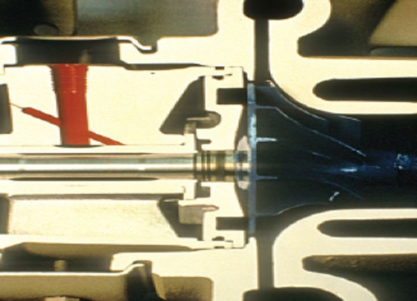 Cummins model T-46 compressor end close-up.