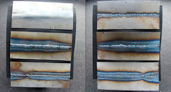 These welds, with their fronts shown on the left and their backs on the right, represent (top to bottom: 1) a finished weld done with alternate tacking and grinding, 2) a bead, welded with trigger on/off segments, and 3) a weld bead comprised of automatically stitch-timed segments.