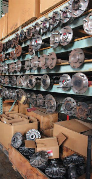 In your garage, you probably don't have a rack of axle shafts like this to choose from. At times, it is helpful to get advice from the experts who have tried them all and know what works and what does not.