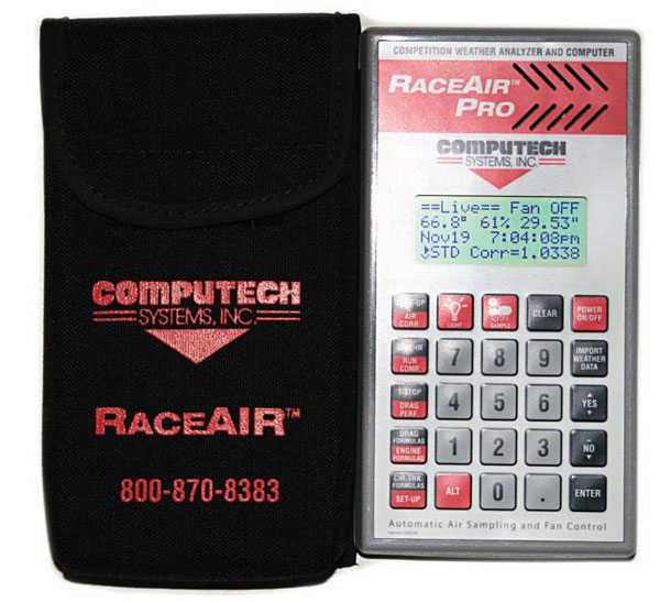 Computech's Race Air Pro Weather Station complete with carrying case keeps you current as to weather changes, and expected ET based on those changes.