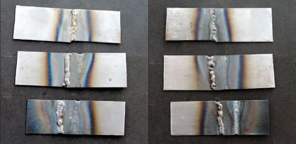 Here are examples (top to bottom) of a butt joint, lap joint, and offset lap joint. The fronts are shown on the left and the backs to their right. These are realistic examples of shop welding done at average levels of quality.