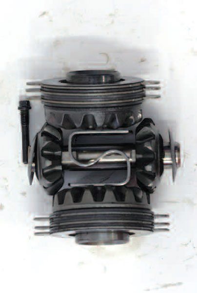 These are all of the internal components of a limited-slip differential. We have arranged them outside of the differential to show the relationship of the parts. Once installed in the differential case, it can be difficult to see all of the components.