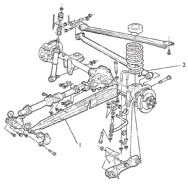 This is an exploded view of the GM F-Body three-link factory suspension design. The torque arm (1) runs between the rear axle housing and the tailshaft of the transmission. Note the Panhard bar (2) located lengthwise behind the axle. This locates the rear axle under the car and prevents it from moving left or right during hard cornering.