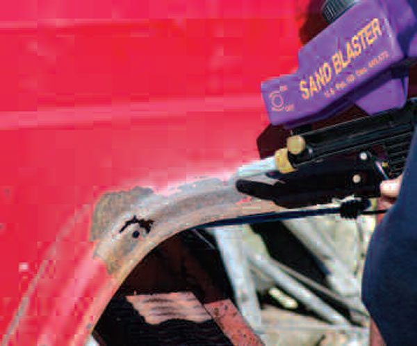 Mild abrasive blasting poked holes through areas where the metal was weakest. This procedure also began cleaning the metal in the repair area for later steps, like welding, tinning, and filling.