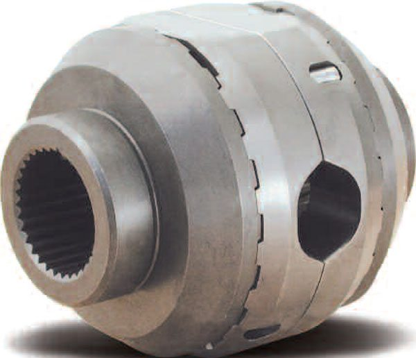 This completely assembled unit appears as it would inside the differential case. You can see the oval-shaped hole for the differential pin. This oval shape spreads the couplers apart to lock the device.(Eaton Corporation)