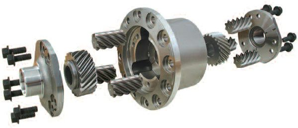 The Detroit Truetrac by Eaton is a helical or worm-style differential, and this exploded view of the differential and the helical gears clearly shows this particular differential design. (Eaton Corporation)