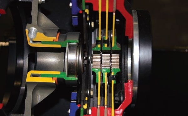 The full cutaway shows the bearing on the left against a triple-disc 7-inch-diameter racing clutch.