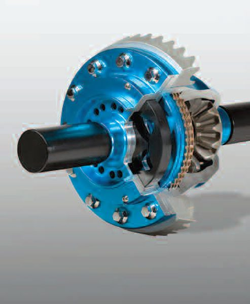 44) Here is a cutaway of the initial designed gerodisc style limited-slip differential. The gerotor pump (black) is just left of the ring gear. The apply piston (blue) is to the right of the pump, and the clutch pack is next to that. The typical bevel differential is also used with this type of device.