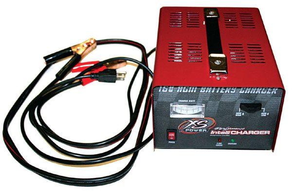 A 16-volt battery charger like this one from XS Power is a must for a 16- volt battery system. A 12-volt charger cannot keep the 16-volt batter at full charge. It can also be used as a battery maintainer between races, lengthening the life of the battery.