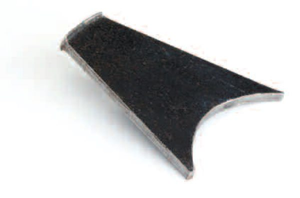 This tool can be homemade; it is basically a semi-circle that matches the shim diameter cut out of a piece of flat steel plate. These tools are also available from most axle parts suppliers but not typical auto parts stores, so you want to plan ahead. The tool drives the shims into place. Then the plate just needs to be trimmed like this one. After some use, the end mushrooms over, which can easily be ground off.