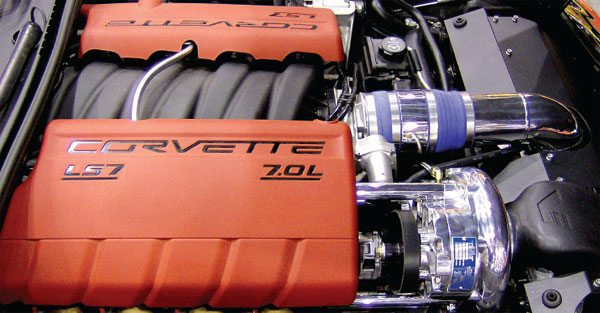 High compression and superchargers are seldom friends. This kit from Vortech engineering for the 11.0:1 Corvette Z06 works very well as a result of low charge temperatures and careful engine tuning.