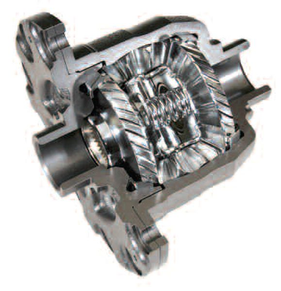 An actual sectioned differential is shown so you can see the tapered ring between the side gear and housing. (GKN Driveline)