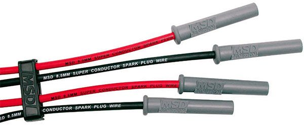Race-quality plug wires are necessary for adequate spark energy to the plug. To ensure best results use 8-mm or larger high-quality wires as shown in this MSD selection. For added protection, cover the boots and wires with tempera¬ture-resistant sleeves.