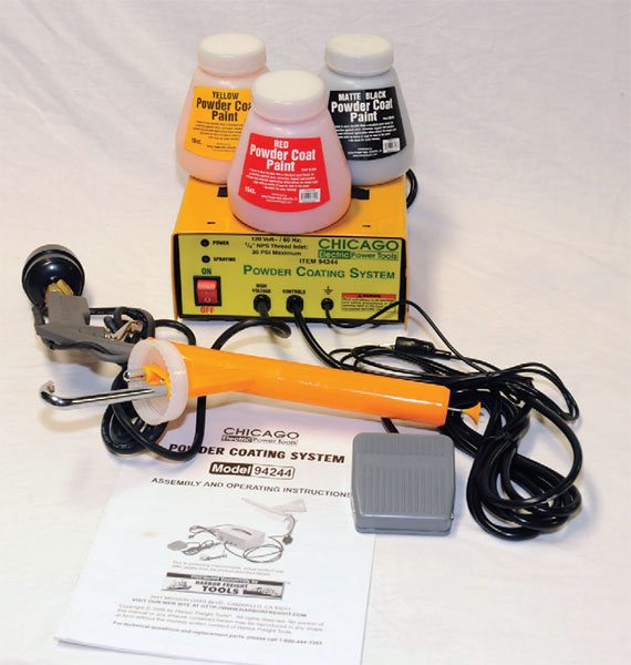 You can buy this Chicago Electric powder coating kit at Harbor Freight Tools. It's a good, service-able kit at a good price but not as refined as other kits available on the market.