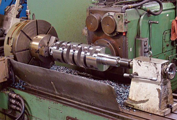 The machining process for a billet crank is long and precise, but the result is a superior crankshaft with uninterrupted grain structure and maximum strength. (Courtesy Scat Enterprises)
