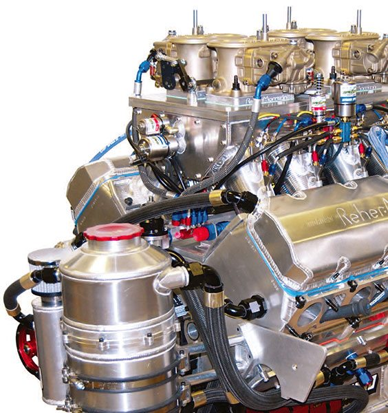 High-end systems like this Pro Mod setup incorporate up to five scavenge stages, some of which are dedicated specifically to pulling a vacuum on the crankcase. (Courtesy Don Cooper, Reher-Morrison)