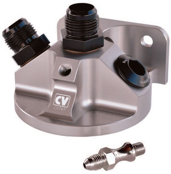 With appropriate filter attachment, the CV Products remote oil filter mount offers a convenient way to plumb a filter between the dry sump pres¬sure stage and the engine. It features dual- or single-inlet usage and it incorporates a fitting for reading oil temperature.