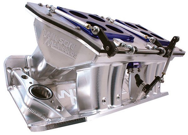 Sheet-metal tunnel-ram intakes are the default power standard for naturally aspirated high-horsepower applica¬tions. These manifolds are labor intensive to construct, but they can meet the specific dimen¬sions that produce big power within closely specified powerbands. (Courtesy Wilson Manifolds)