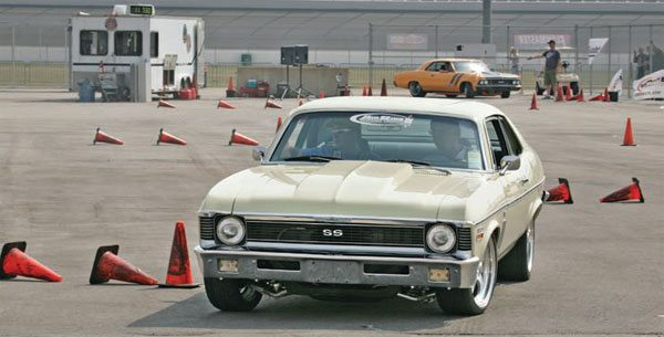 tocross is a good exception to the toe-in rule. With its tight, low-speed turns, a little toe-out is generally a good thing to improve turn-in, and helps the car rotate around the cones. (Photo Courtesy RideTech)