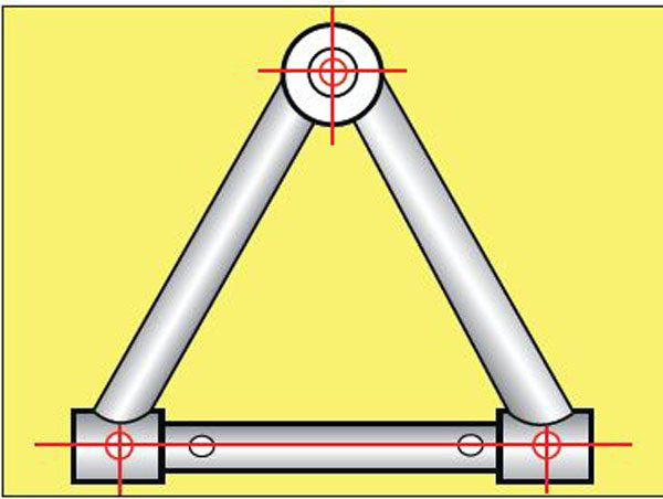 The pickup points for an A-arm are at the center of each pivot bushing and the one inside the ball joint.