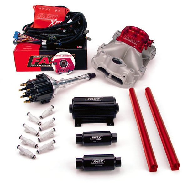 F.A.S.T. XFI fuel-injection kit provides all the necessary components to incorporate a race-ready EFI system. This system would be ideal for a fast drag-race bracket car seeking maximum consistency.