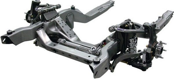 The Detroit Speed subframe takes yet another approach, incorporating C6 Corvette spindles and their own unique rack and pinion, splined end sway bar and coil overs. This clean, modern design is an obvious complement to their Quadralink rear suspension package. (Photo Courtesy Detroit Speed and Engineering)