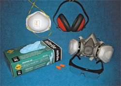 Don't skimp on safety gear! Get a complete set of protective gear. The earmuffs and earplugs protect your hearing when your compressor is cycling or you are using power tools. Extended exposure to loud noise damages your hearing, but even short exposure is fatiguing. You feel better and work better with quiet in your ears.