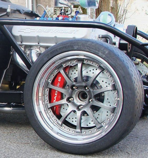 Big horsepower and great handling are cool, but at some point you're going to have to slow it down too. Large-diameter wheels are necessary to accommodate the massive 14-inch-diameter, 6-piston Baer brakes on this Unlimited Class open-course road race car. The huge brakes are necessary to slow the car from its stratospheric top-end speeds. (Photo Courtesy Steve Johnston)