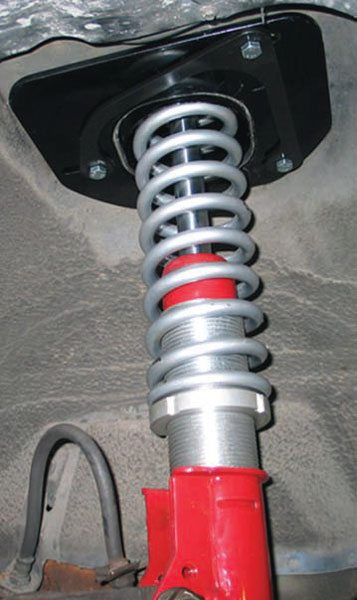 Third gens are fairly easy to convert to a coil-over format. This is a Spohn package, which allows for adjustable ride height. It's unique because it fits to any existing strut (except Bilstein), in this case a Koni Red. (Photo Courtesy Spohn Performance)
