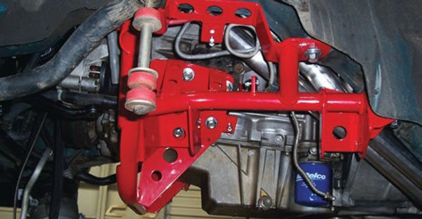 The third-generation F-body subframes are much smaller than those used in first- and second-generation cars. They can still be replaced to save weight and improve chassis rigidity, or to accommodate a different engine (like a big-block or LSX). Another upside: They're much less expensive than those for the earlier F-bodies. This is a Spohn unit and, of course, it's red. (Photo Courtesy Spohn Performance)