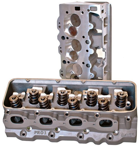 Dart Big Chief Pro 1 cylinder heads for big-block Chevys represent top-of-the-line rac¬ing cylinder heads. Enormous 2.400-/1.900-inch valves and large rectangular ports deliver outstanding flow for larger displacement engines with high-horsepower requirements.