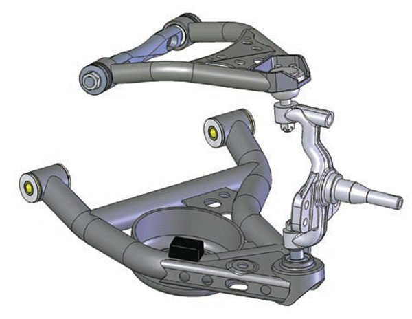 Remember, whichever brand and type of tall spindle you choose, it must be part of an integrated system to work properly. Here's a good example of how a tall spindle and A-arms are designed in CAD to work properly together. Using tall spindles with stock A-arms can make alignment and tuning a nightmare and in some cases is even dangerous. (Photo Courtesy Detroit Speed and Engineering)